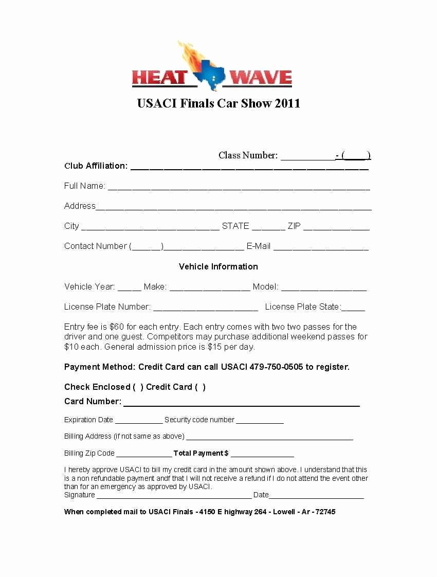 Registration forms Template Word Fresh 4 Car Show Registration form Templates – Word Templates