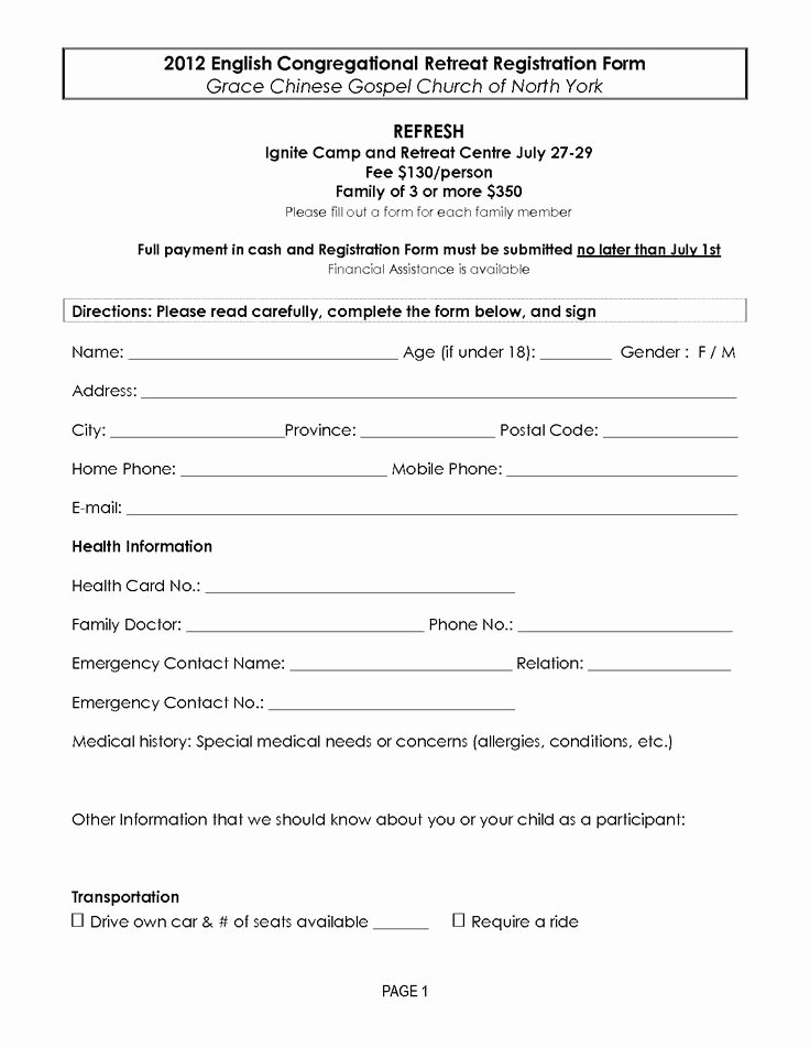 Registration forms Template Word Inspirational Retreat Registration forms