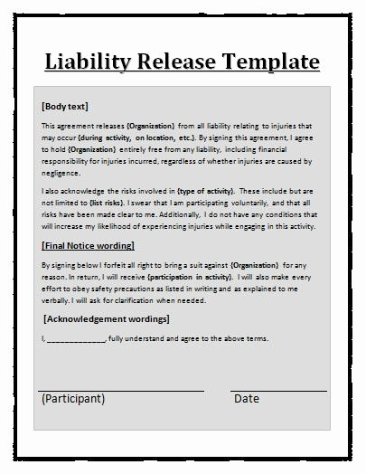 Release Of Liability Template Free Awesome Liability Waiver Template