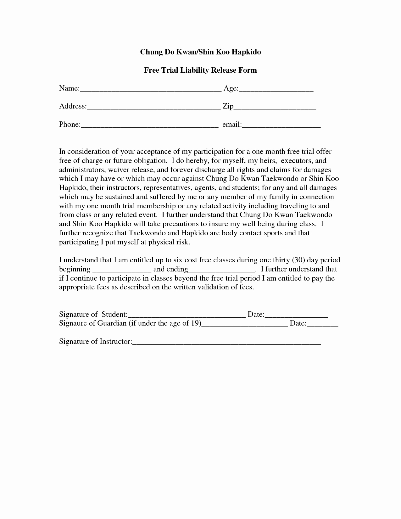 Release Of Liability Template Free Beautiful Free Printable Liability form form Generic