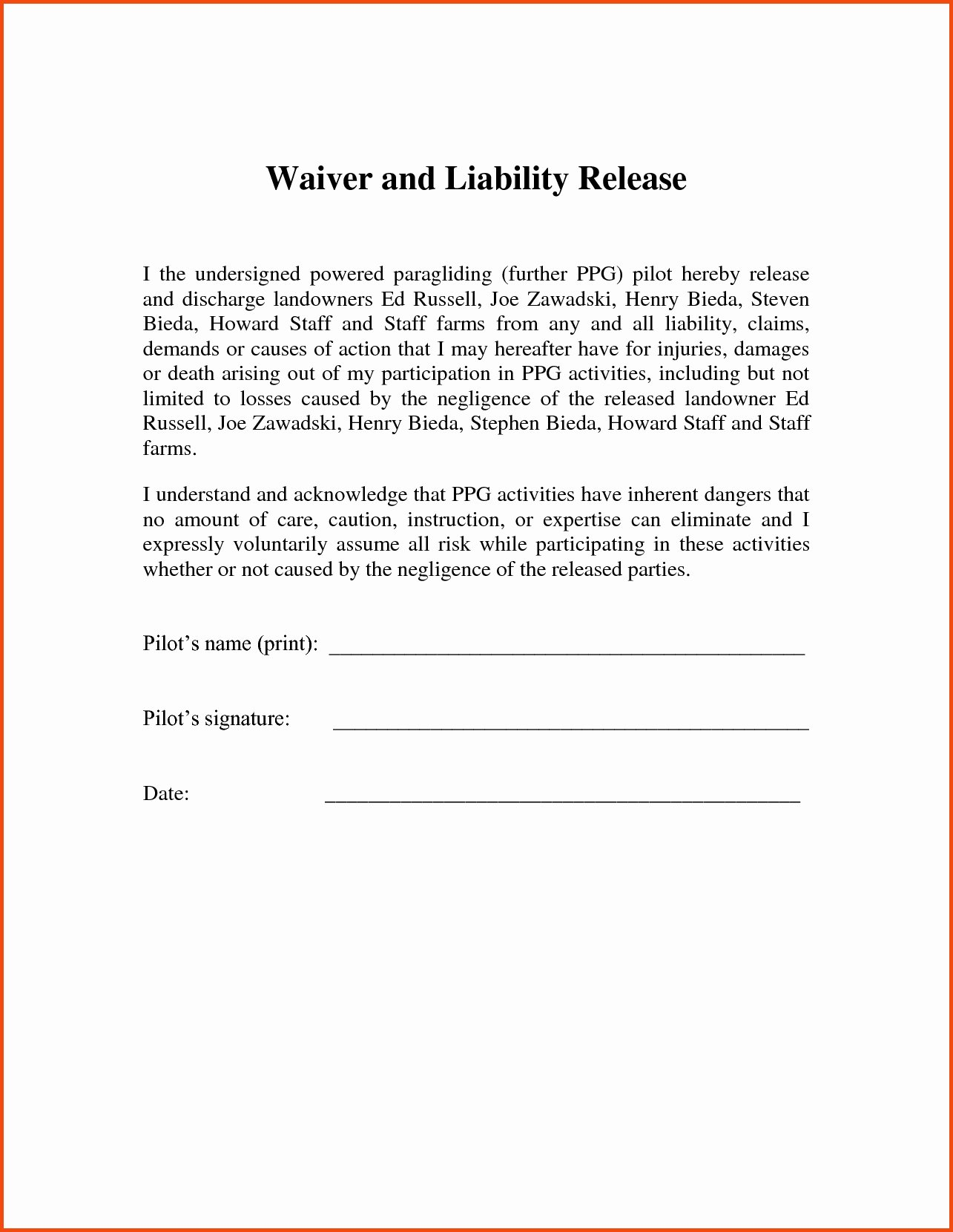 Release Of Liability Template Free Beautiful Letter Release Liability Template Collection
