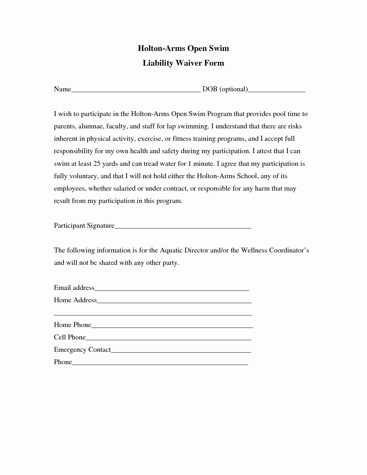 Release Of Liability Template Free Beautiful Liability Insurance Liability Insurance Waiver Template