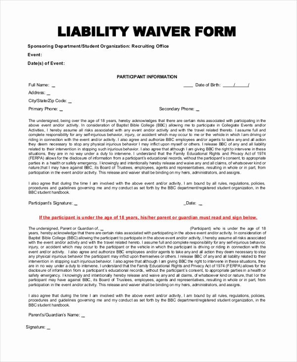 Release Of Liability Template Free Beautiful Sample Liability form 8 Free Documents In Pdf