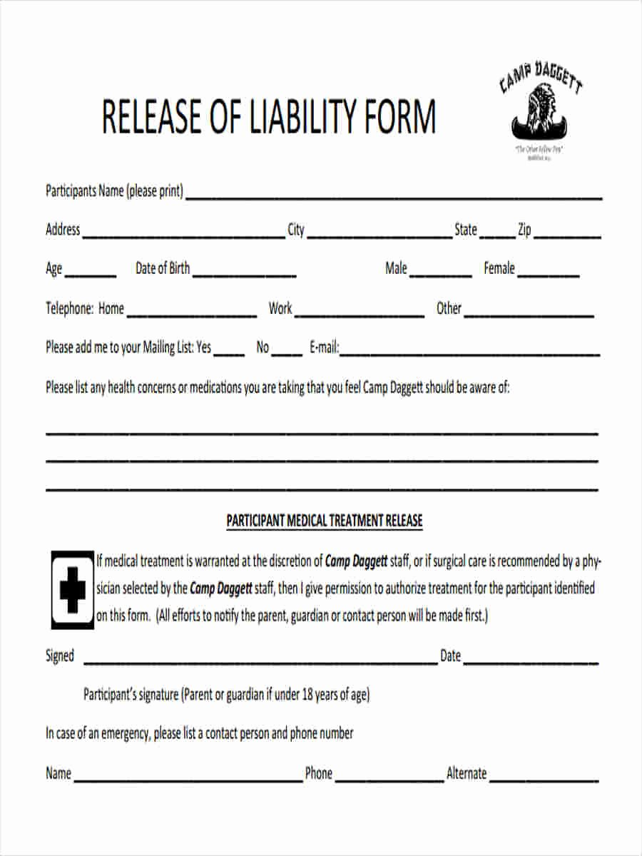 Release Of Liability Template Free Best Of 5 Trustee Liability form Samples Free Sample Example