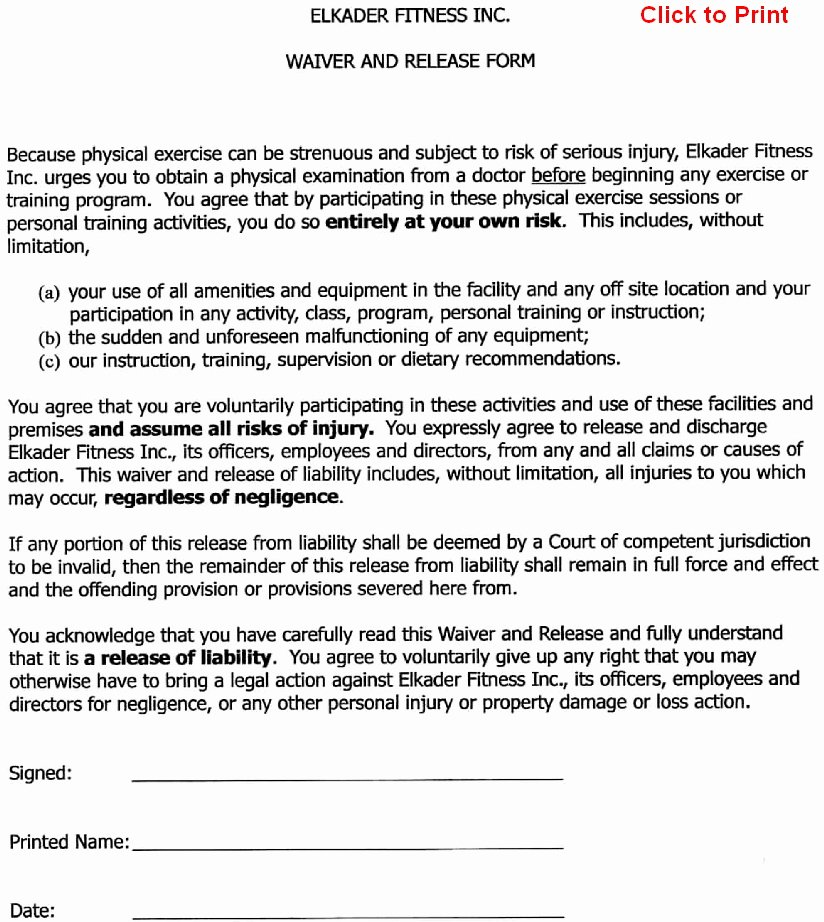 Release Of Liability Template Free Best Of Free Printable Release and Waiver Liability Agreement