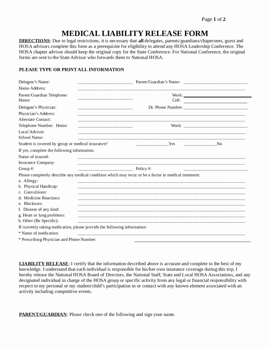 Release Of Liability Template Free Elegant Liability Release form Template