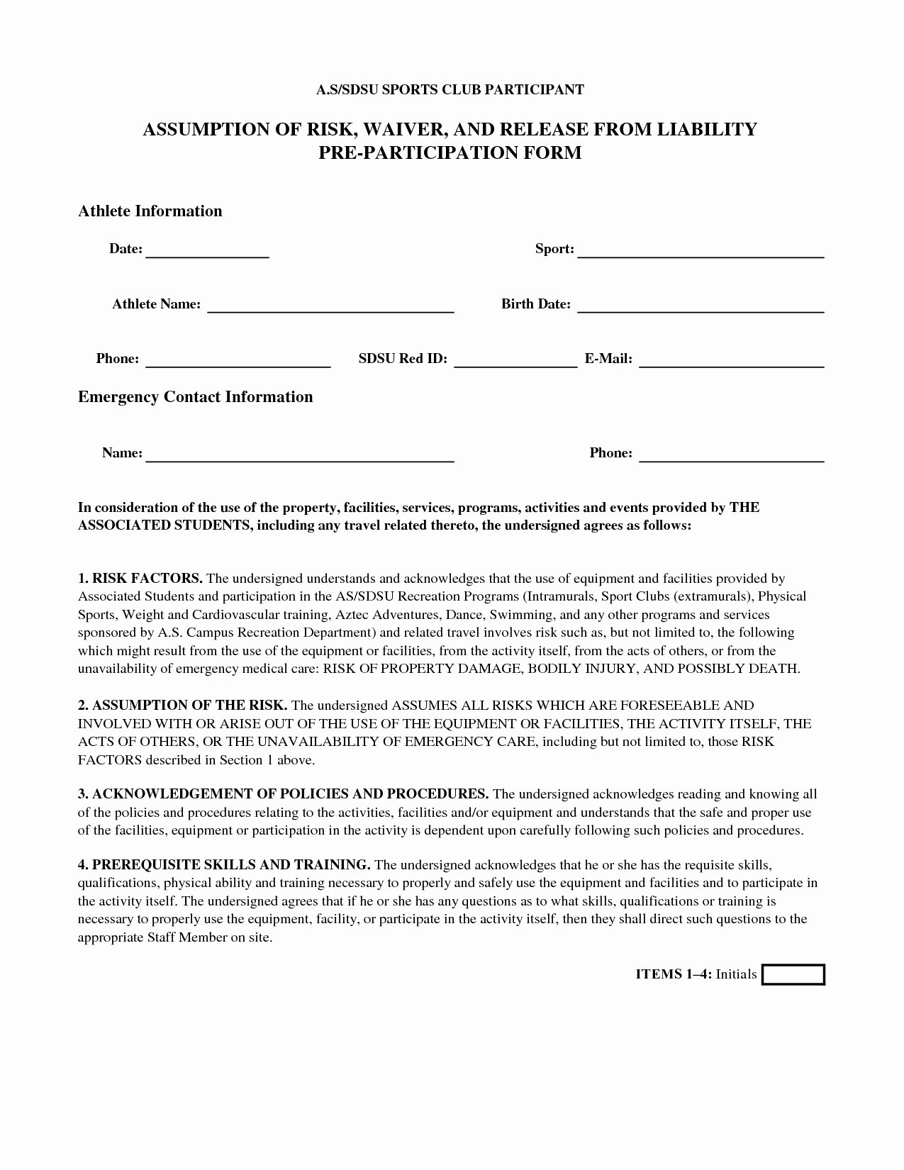 Release Of Liability Template Free Fresh Generic Liability Waiver and Release form