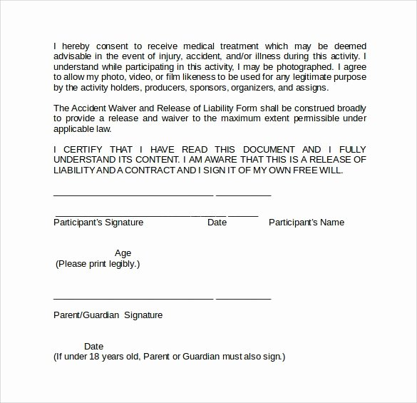 Release Of Liability Template Free Fresh Liability Release form Template