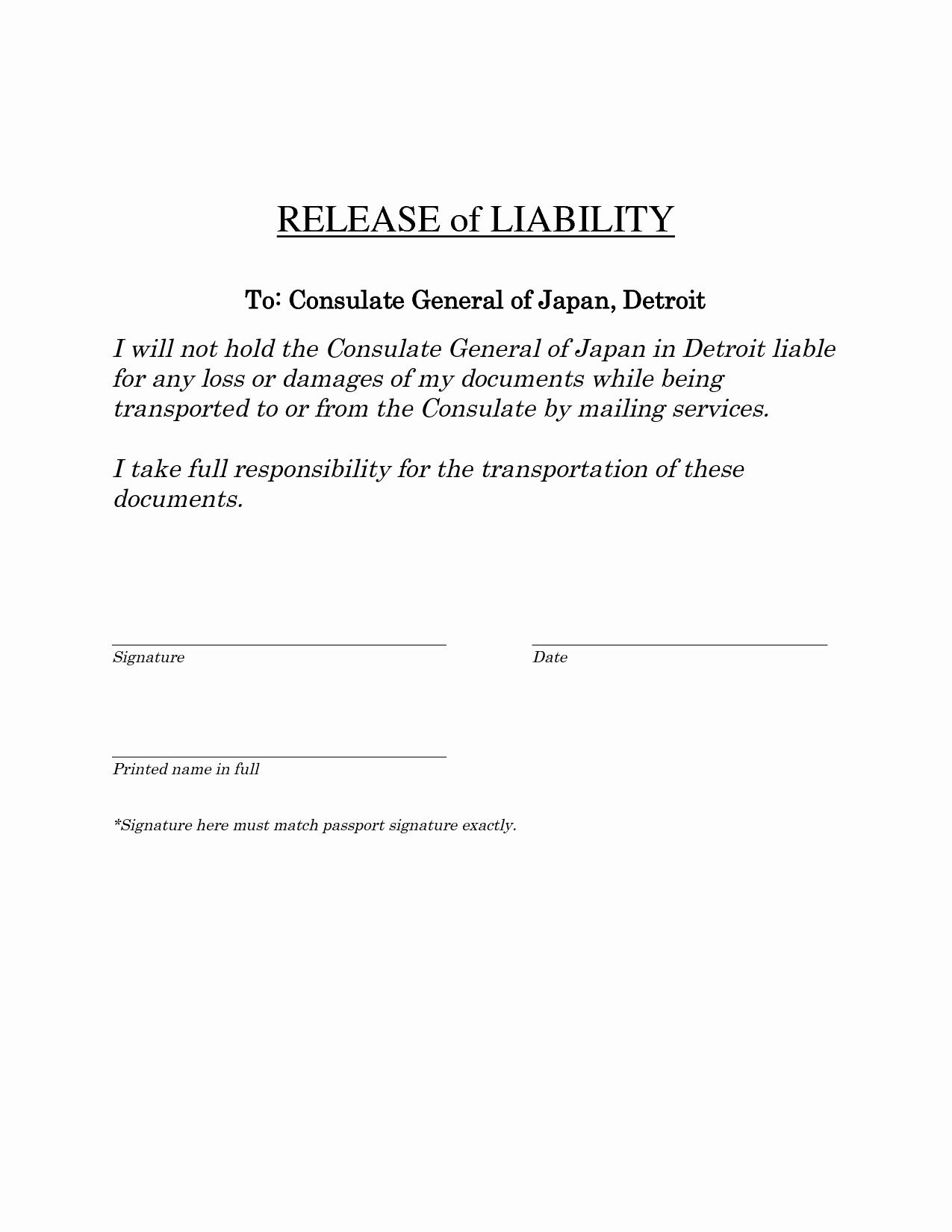 Release Of Liability Template Free Inspirational General Liability Release Portablegasgrillweber