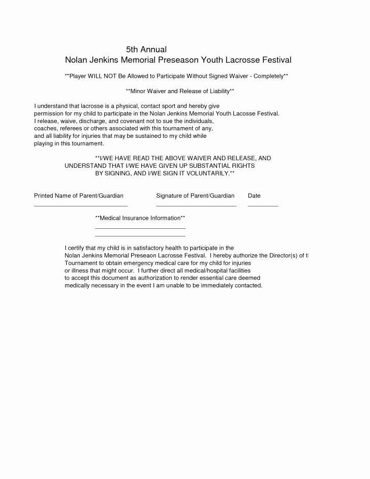 Release Of Liability Template Free Lovely Liability Waiver form form Trakore Document Templates