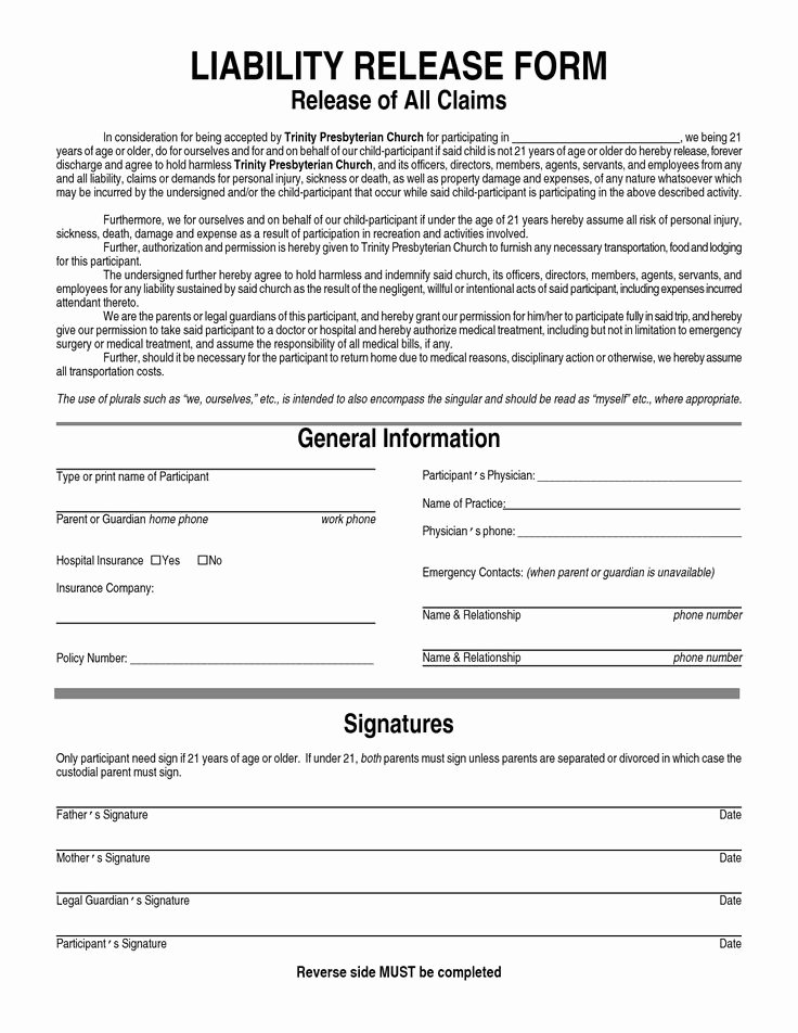 Release Of Liability Template Free Luxury General Liability Waiver form