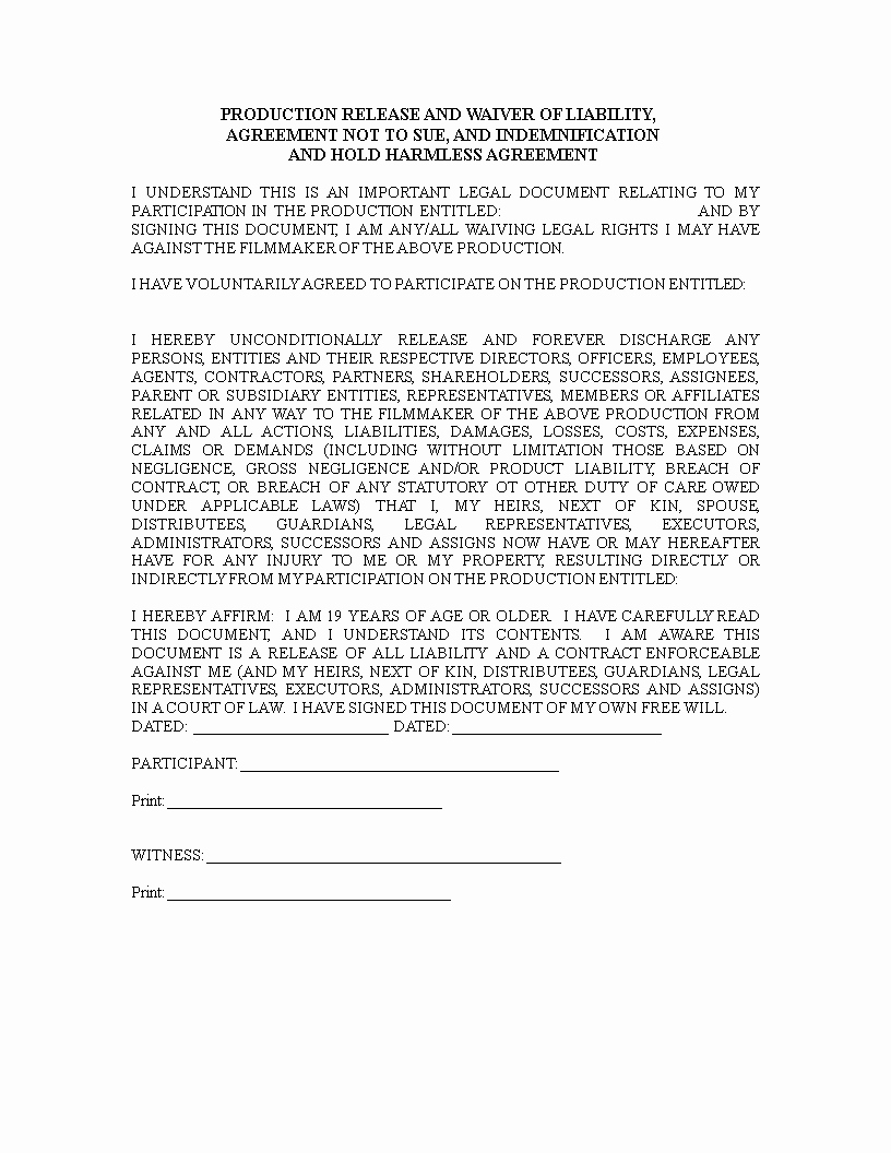 Release Of Liability Template Free New Free Release Of Liability Waiver form