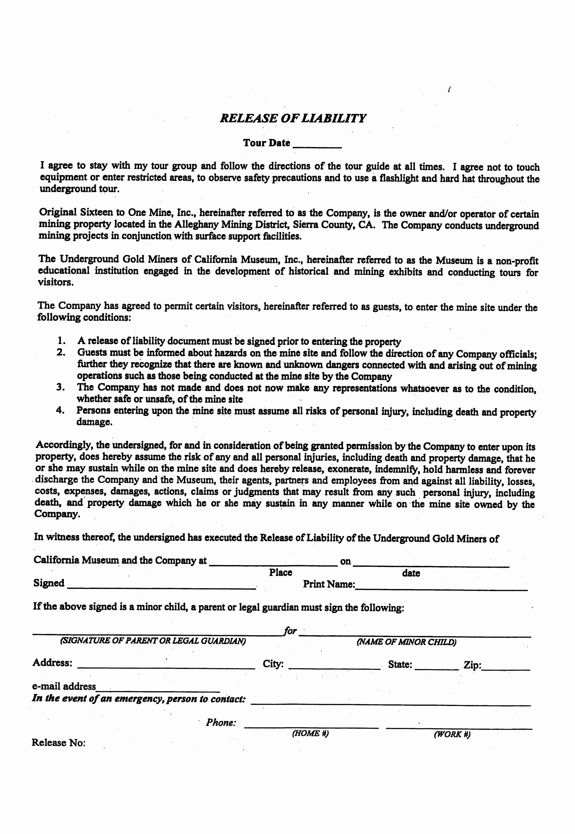 Release Of Liability Template Free New Liability Release form Template Free Printable Documents
