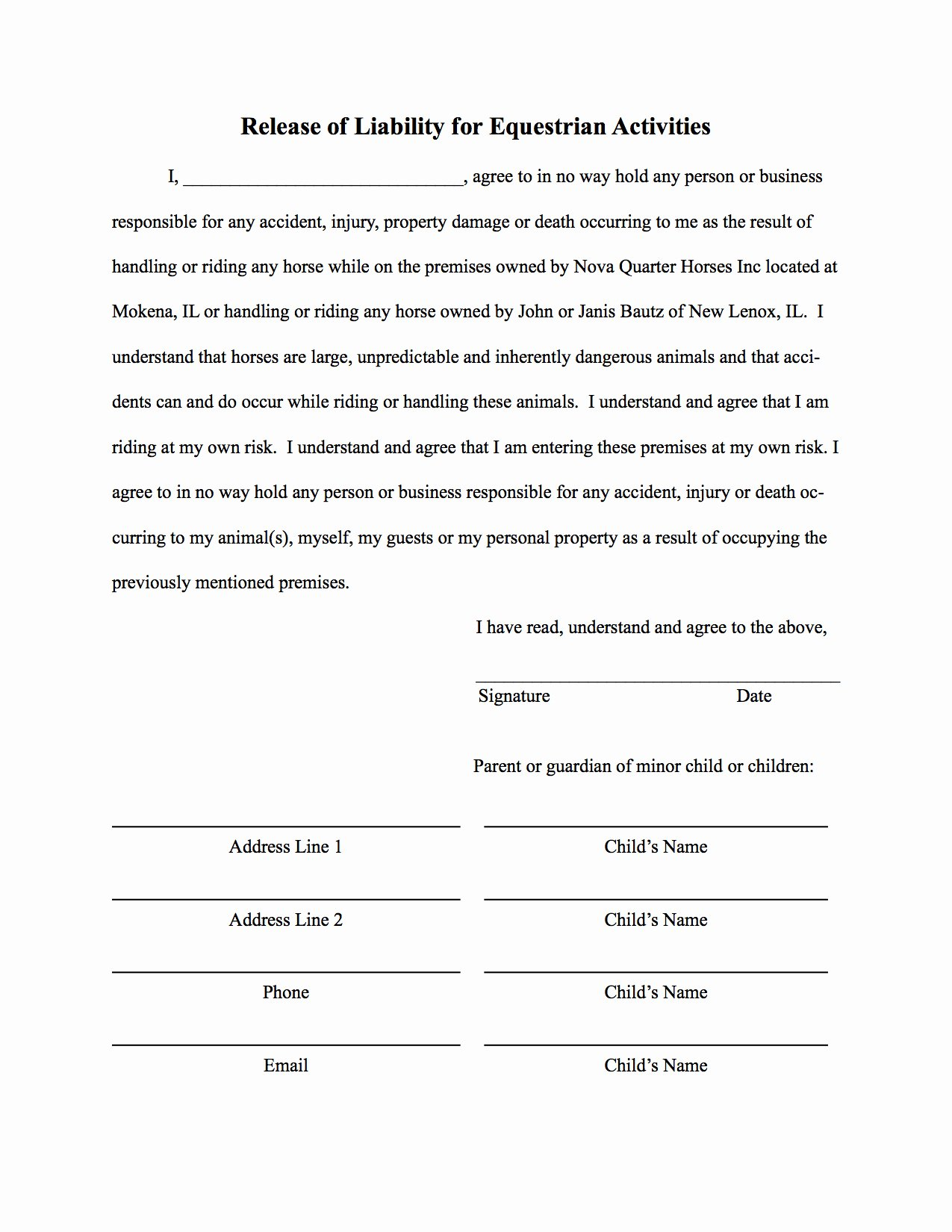 Release Of Liability Template Free Unique Free Printable Liability form form Generic