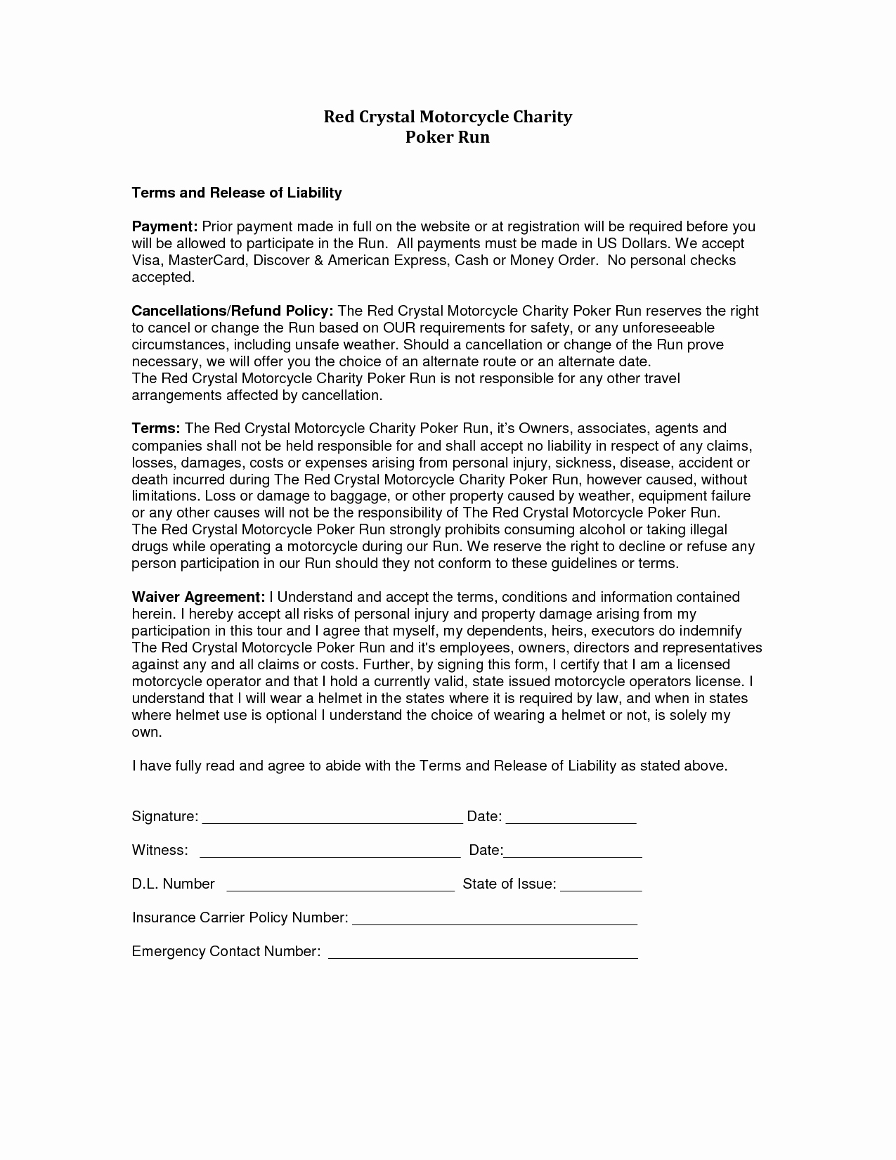 Release Of Liability Template Free Unique Liability Release form Template Free Printable Documents