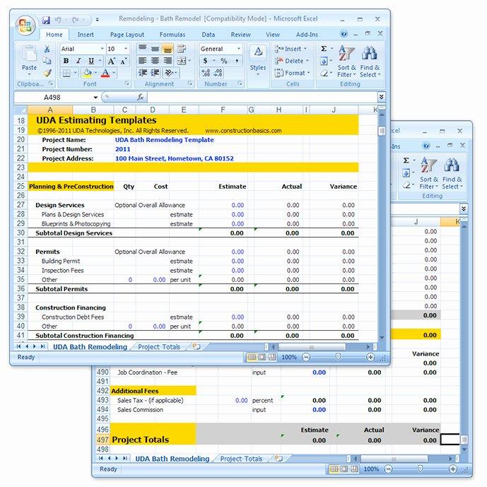Renovation Estimate Template Free Elegant Uda Construction Estimating Templates Remodeling Excel