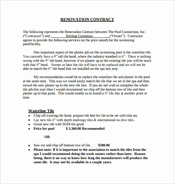 Renovation Estimate Template Free Lovely 9 Remodeling Contract Templates to Download for Free