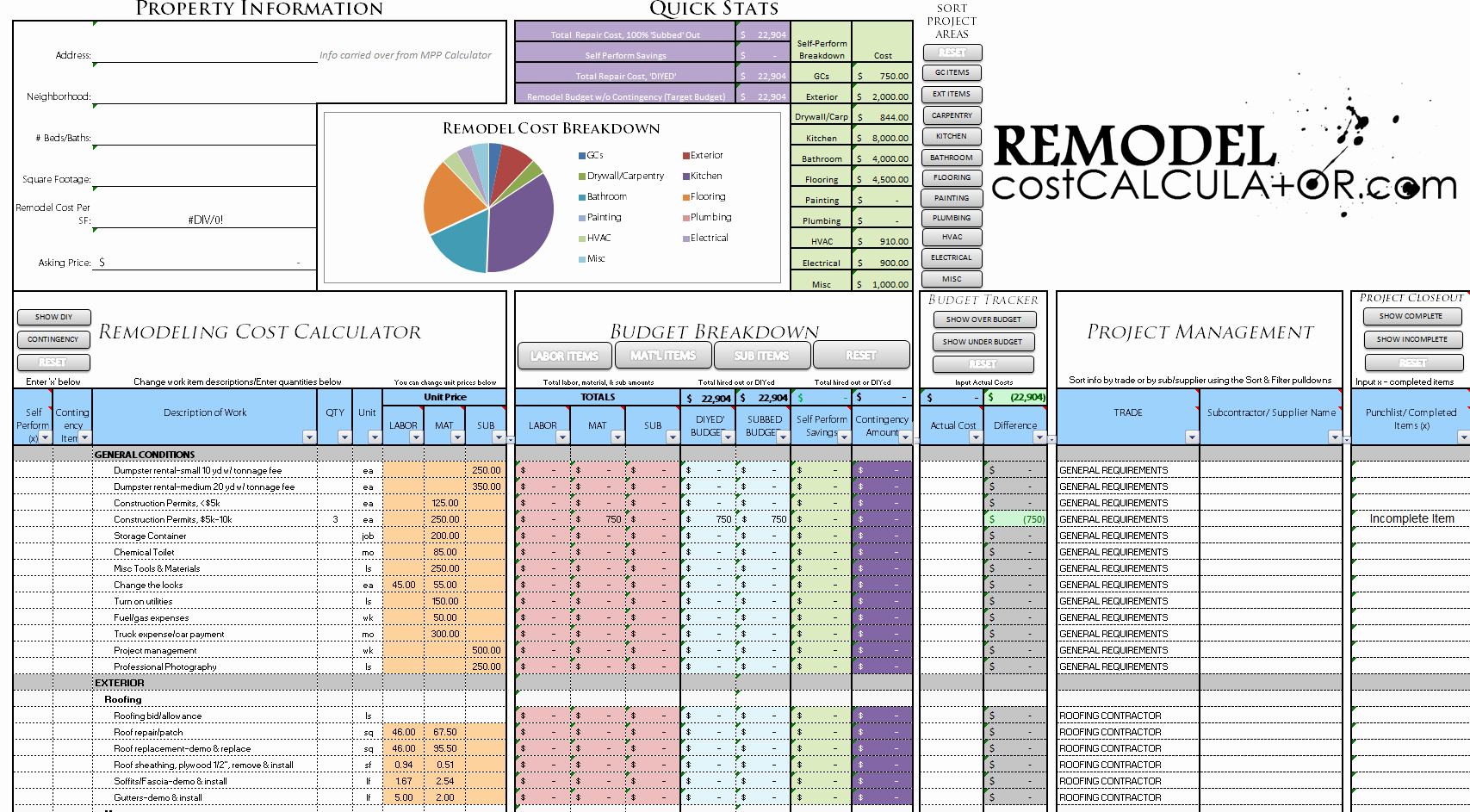 Renovation Estimate Template Free Lovely Home Renovation Bud Spreadsheet Template Bud