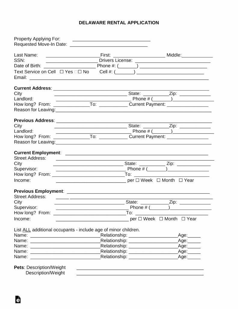 Rent Application form Template Elegant Free Delaware Rental Application Template Word