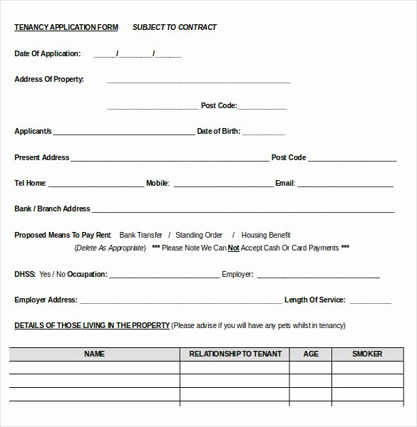 Rent Application form Template Inspirational 10 Word Rental Application Templates Free Download
