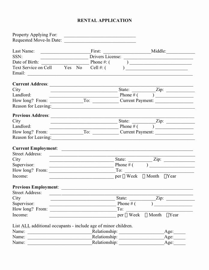 Rent Application form Template Inspirational Rental Application Template Free Documents for