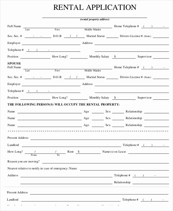 Rent Application form Template Inspirational Rental Application Templates 10 Free Word Pdf