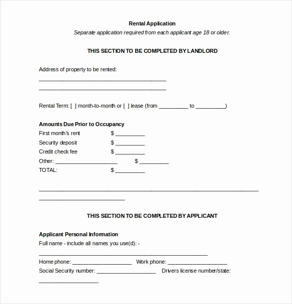 Rent Application form Template Lovely 13 Rental Application Templates – Free Sample Example