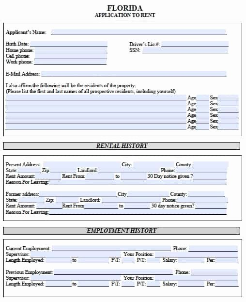 Rent Application form Template Lovely Free Florida Rental Application – Pdf Template