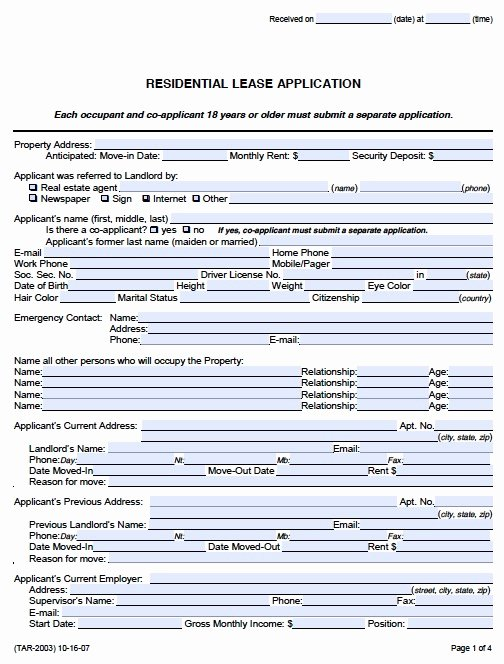 Rent Application form Template Lovely Rental Application form Pdf