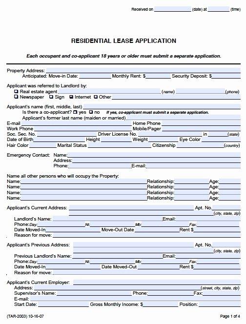 Rent Application form Template Lovely Rental Application form Pdf