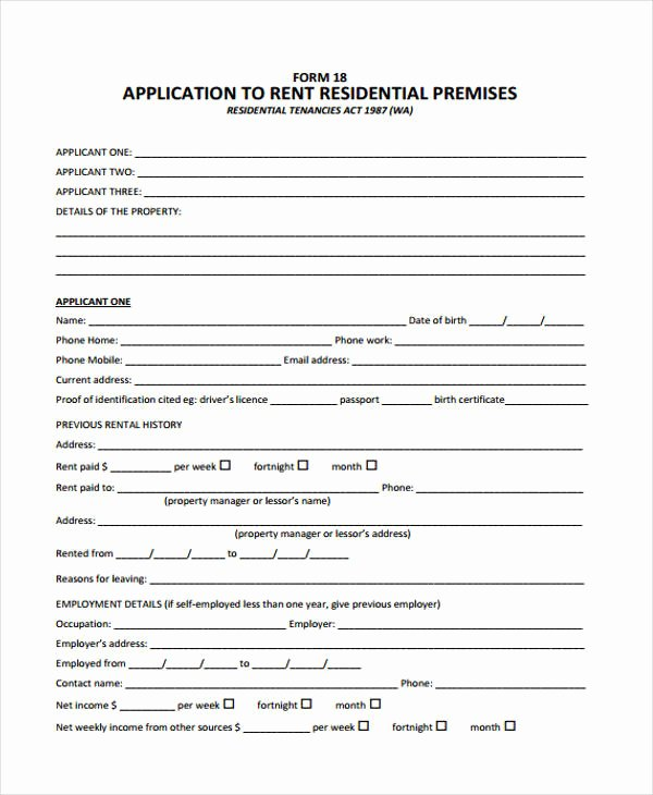Rent Application form Template Luxury 44 Basic Application forms