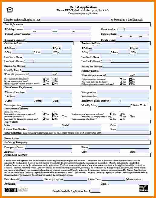 Rent Application form Template Luxury 8 Sample Rental Application form