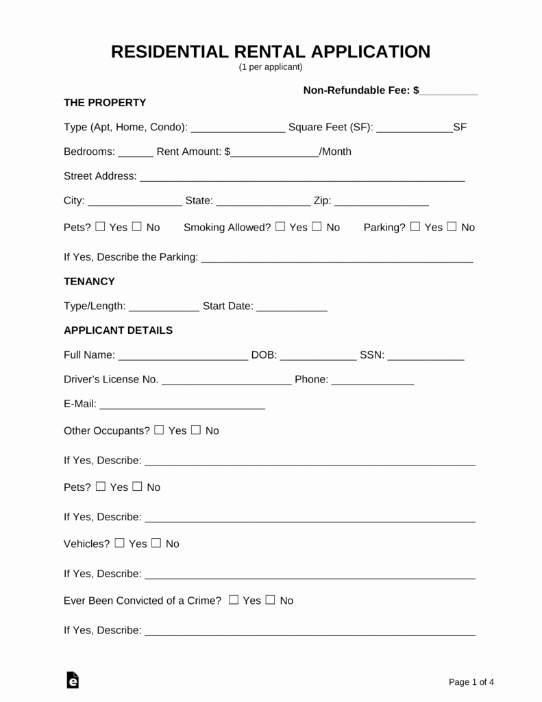 Rent Application form Template Luxury Free Rental Application forms Pdf Word