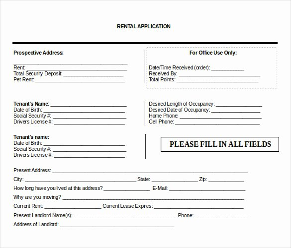 Rent Application form Template Unique 10 Word Rental Application Templates Free Download
