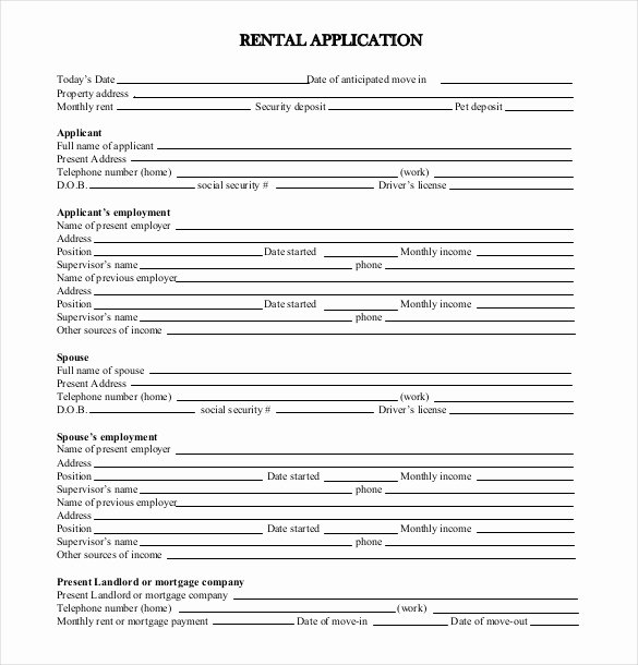 Rent Application form Template Unique 13 Rental Application Templates – Free Sample Example