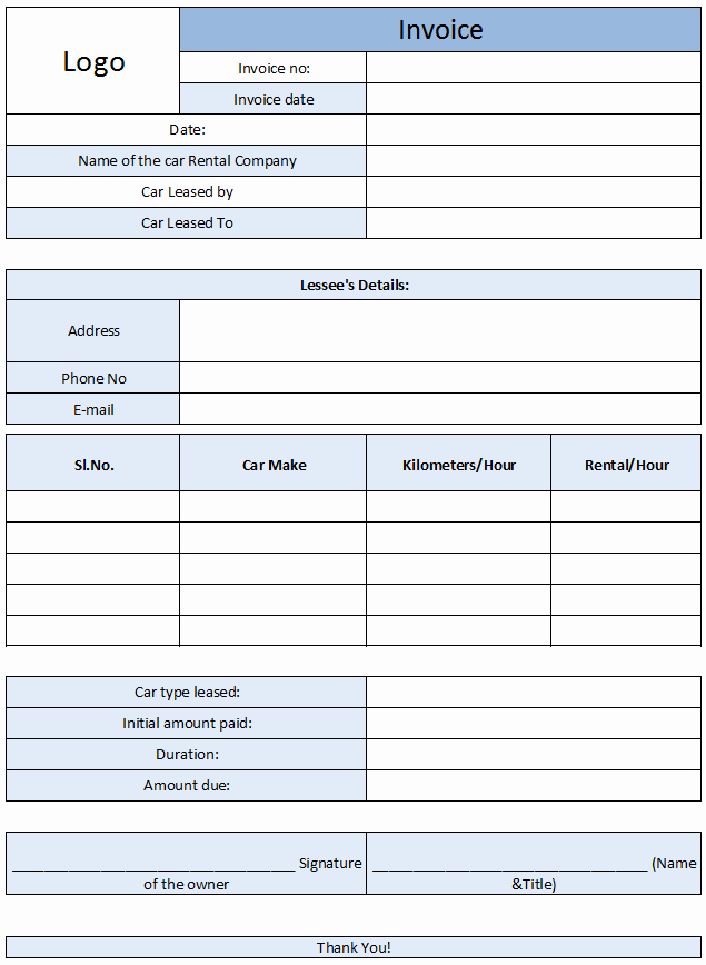 Rent Invoice Template Excel Awesome Car Rental Invoice Template Free Enterprise Car Rental