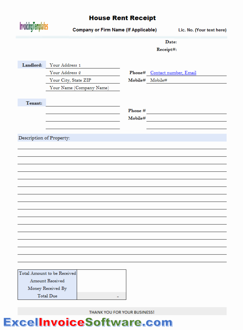 Rent Invoice Template Excel Fresh House Rent Receipt Template for Excel Invoice software