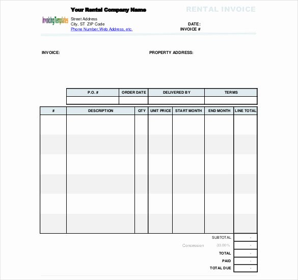 Rent Invoice Template Excel Lovely 60 Microsoft Invoice Templates Pdf Doc Excel
