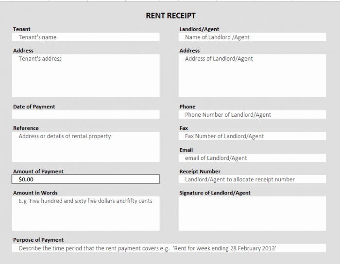 Rent Invoice Template Excel New 50 Free Receipt Templates Cash Sales Donation Taxi
