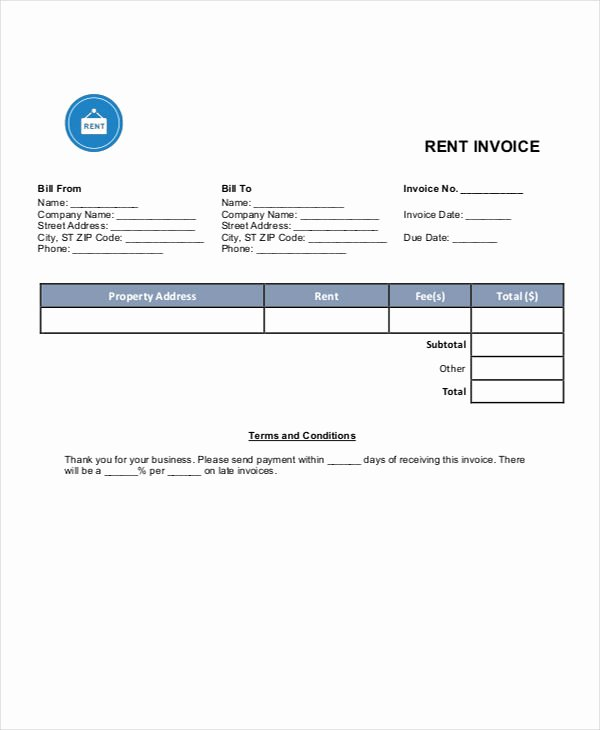 Rent Invoice Template Excel New Rent Invoice Templates 8 Free Samples Examples format