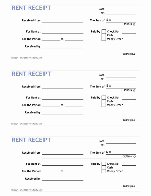 Rent Paid Receipt Template Awesome Free Printable Rent Receipt form Pdf From Vertex42