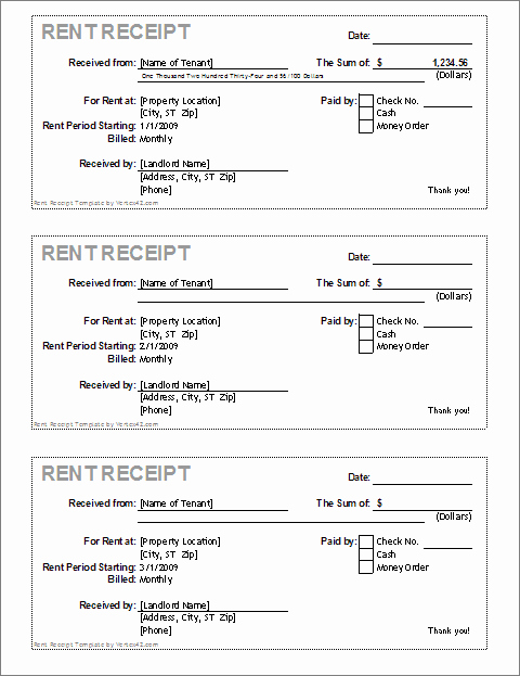 Rent Paid Receipt Template Inspirational Rent Receipt Template for Excel