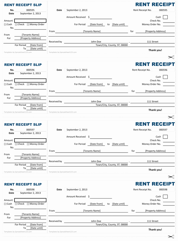 Rent Paid Receipt Template Luxury Rent Receipt