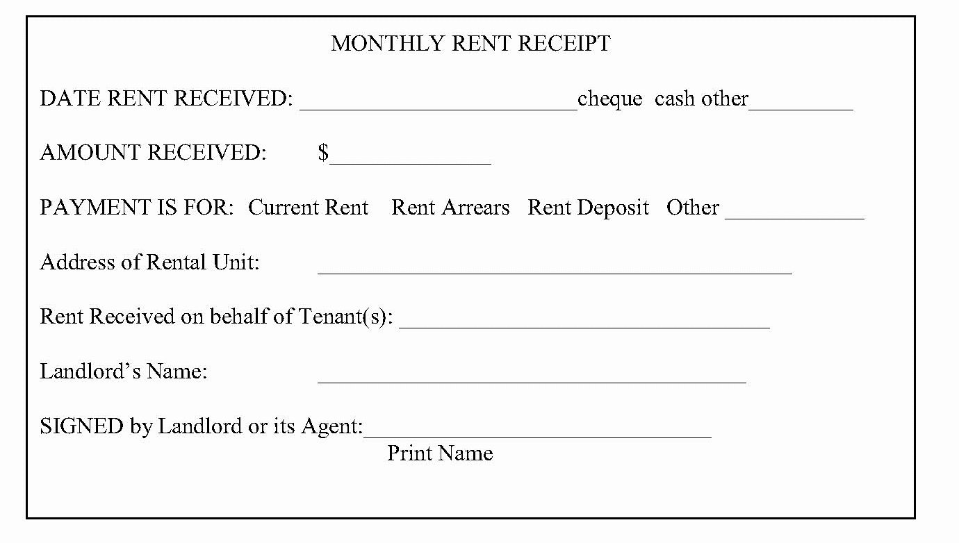 Rent Paid Receipt Template Unique Tario Landlord and Tenant Law Rent Receipts What is