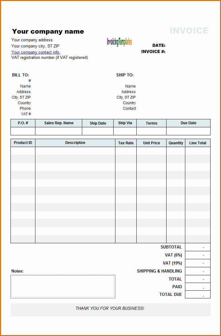 8 rent invoice template