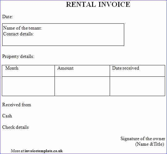 Rental Invoice Template Excel Inspirational Rent Invoice Template Word Denryokufo