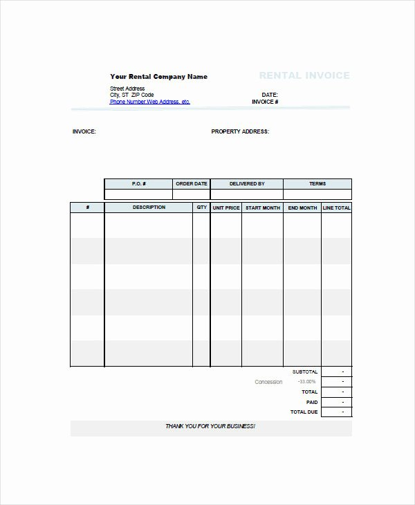 Rental Invoice Template Excel Unique 7 Rent Invoice Examples & Samples Pdf Word Pages