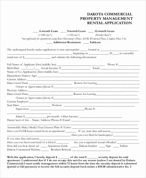 Renters Application form Template Awesome 17 Printable Rental Application Templates