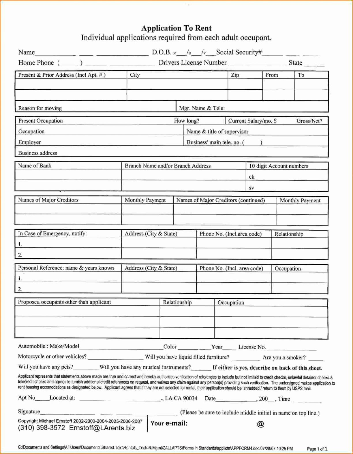 Renters Application form Template Inspirational Fresh Free Printable Rental Application