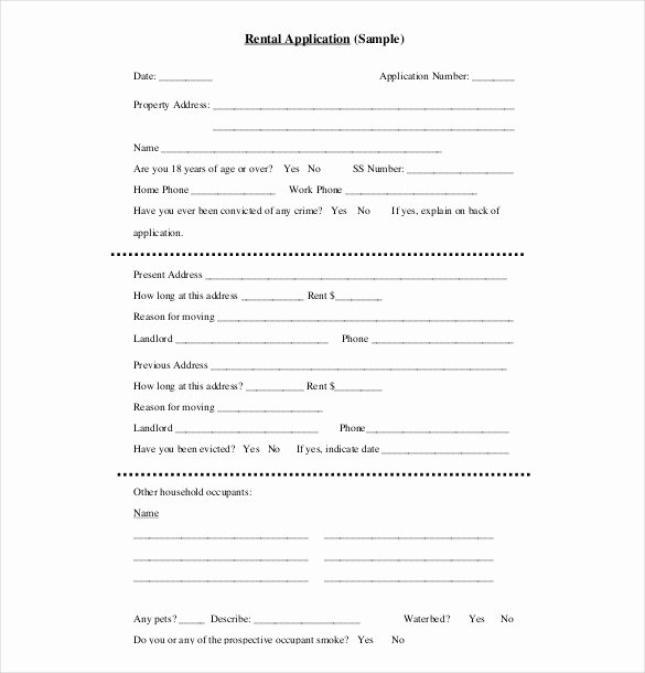 Renters Application form Template Inspirational Rental Application Template – 10 Free Word Pdf Documents